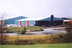 Architecturally fronted steel factory building. Used for the manufacture of windows and glazing
