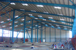 Inside look of warehouse during construction